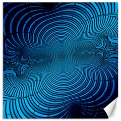Abstract Fractal Blue Background Canvas 12  X 12