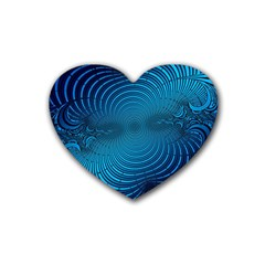 Abstract Fractal Blue Background Rubber Coaster (Heart)
