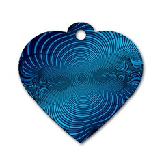 Abstract Fractal Blue Background Dog Tag Heart (two Sides)