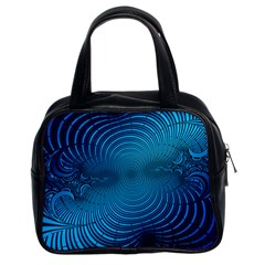 Abstract Fractal Blue Background Classic Handbags (2 Sides)