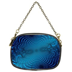 Abstract Fractal Blue Background Chain Purses (One Side)