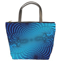 Abstract Fractal Blue Background Bucket Bags