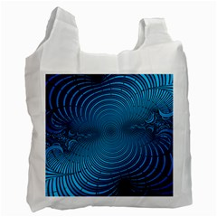 Abstract Fractal Blue Background Recycle Bag (Two Side)