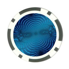 Abstract Fractal Blue Background Poker Chip Card Guard (10 pack)