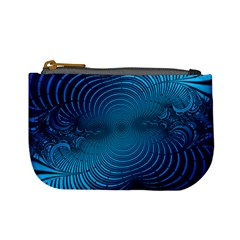 Abstract Fractal Blue Background Mini Coin Purses