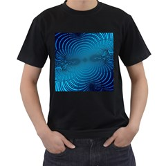 Abstract Fractal Blue Background Men s T Shirt (black)