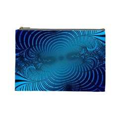 Abstract Fractal Blue Background Cosmetic Bag (large)