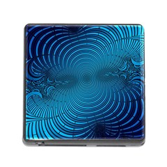 Abstract Fractal Blue Background Memory Card Reader (square)