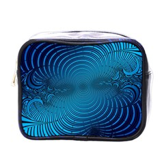 Abstract Fractal Blue Background Mini Toiletries Bags