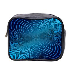 Abstract Fractal Blue Background Mini Toiletries Bag 2 Side