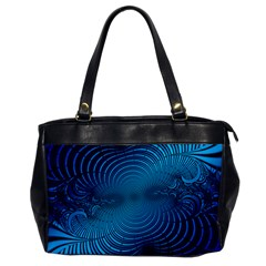Abstract Fractal Blue Background Office Handbags