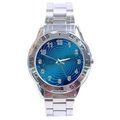 Abstract Fractal Blue Background Stainless Steel Analogue Watch