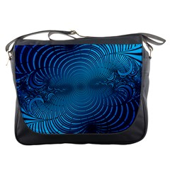 Abstract Fractal Blue Background Messenger Bags