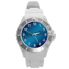 Abstract Fractal Blue Background Round Plastic Sport Watch (l)