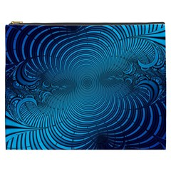 Abstract Fractal Blue Background Cosmetic Bag (xxxl)
