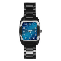 Abstract Fractal Blue Background Stainless Steel Barrel Watch