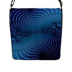 Abstract Fractal Blue Background Flap Messenger Bag (l)