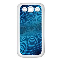 Abstract Fractal Blue Background Samsung Galaxy S3 Back Case (white)