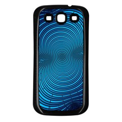 Abstract Fractal Blue Background Samsung Galaxy S3 Back Case (black)