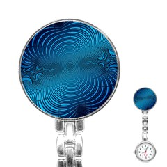 Abstract Fractal Blue Background Stainless Steel Nurses Watch