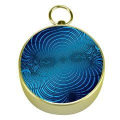 Abstract Fractal Blue Background Gold Compasses