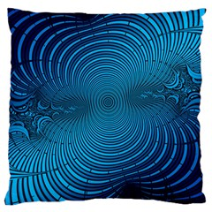 Abstract Fractal Blue Background Large Flano Cushion Case (one Side)