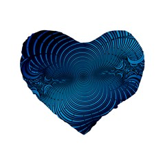 Abstract Fractal Blue Background Standard 16  Premium Flano Heart Shape Cushions