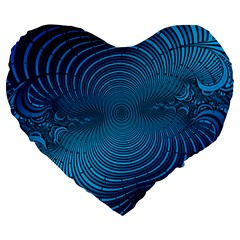 Abstract Fractal Blue Background Large 19  Premium Flano Heart Shape Cushions