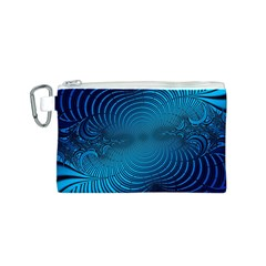 Abstract Fractal Blue Background Canvas Cosmetic Bag (s)