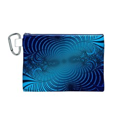 Abstract Fractal Blue Background Canvas Cosmetic Bag (m)