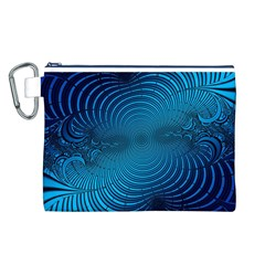 Abstract Fractal Blue Background Canvas Cosmetic Bag (l)