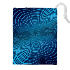 Abstract Fractal Blue Background Drawstring Pouches (xxl)