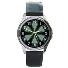 Lines Abstract Background Round Metal Watch