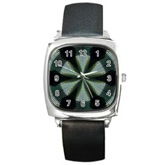 Lines Abstract Background Square Metal Watch