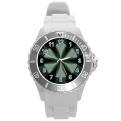 Lines Abstract Background Round Plastic Sport Watch (l)