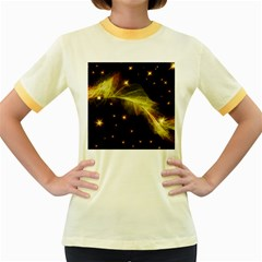 Particles Vibration Line Wave Women s Fitted Ringer T Shirts