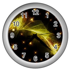Particles Vibration Line Wave Wall Clocks (Silver)