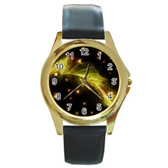Particles Vibration Line Wave Round Gold Metal Watch
