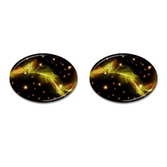 Particles Vibration Line Wave Cufflinks (oval)