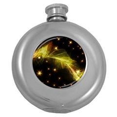 Particles Vibration Line Wave Round Hip Flask (5 Oz)