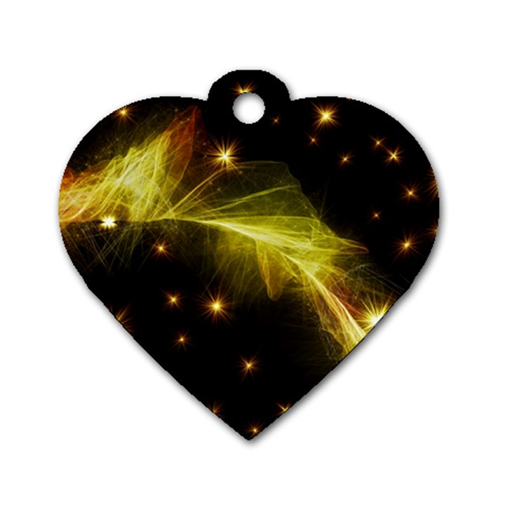 Particles Vibration Line Wave Dog Tag Heart (One Side)