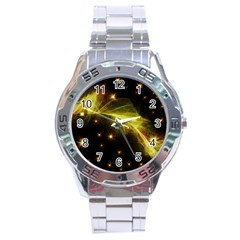 Particles Vibration Line Wave Stainless Steel Analogue Watch