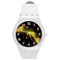 Particles Vibration Line Wave Round Plastic Sport Watch (m)