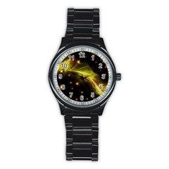 Particles Vibration Line Wave Stainless Steel Round Watch