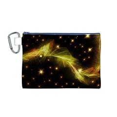Particles Vibration Line Wave Canvas Cosmetic Bag (m)
