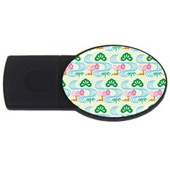 Flower Arrangements Season Sunflower Green Blue Pink Red Waves USB Flash Drive Oval (2 GB)