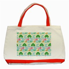 Flower Arrangements Season Sunflower Green Blue Pink Red Waves Classic Tote Bag (Red)