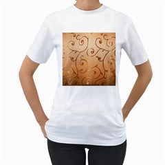 Texture Material Textile Gold Women s T-Shirt (White) (Two Sided)