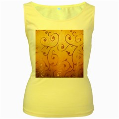 Texture Material Textile Gold Women s Yellow Tank Top