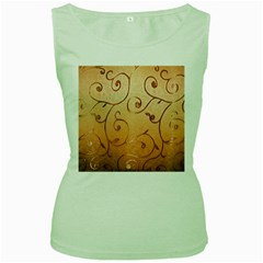 Texture Material Textile Gold Women s Green Tank Top